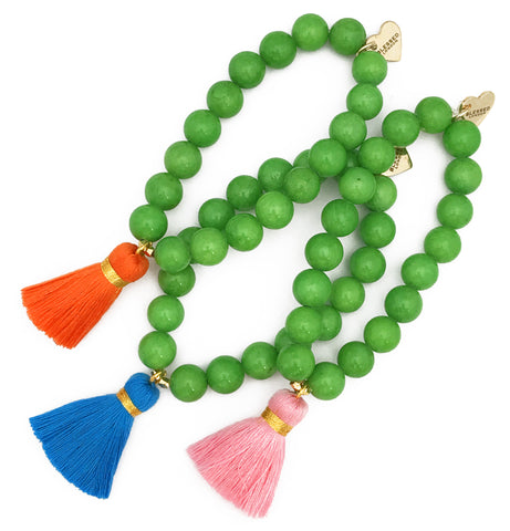 Green Jade Bracelet - Choose a Tassel Colour