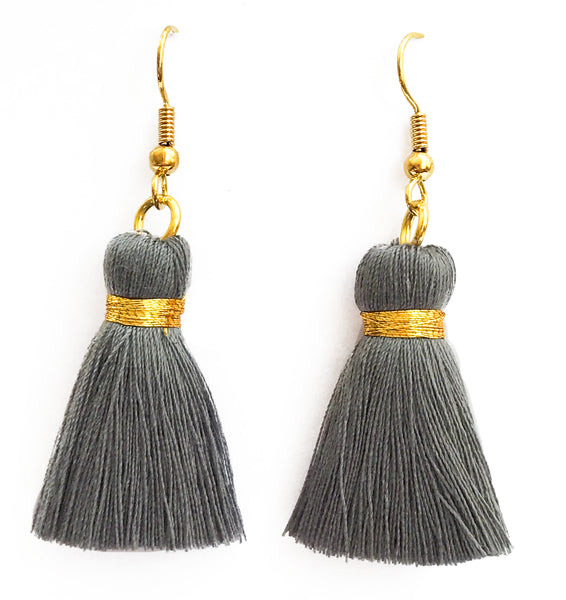 Simple Gold Hook & Tassel Earrings - Grey