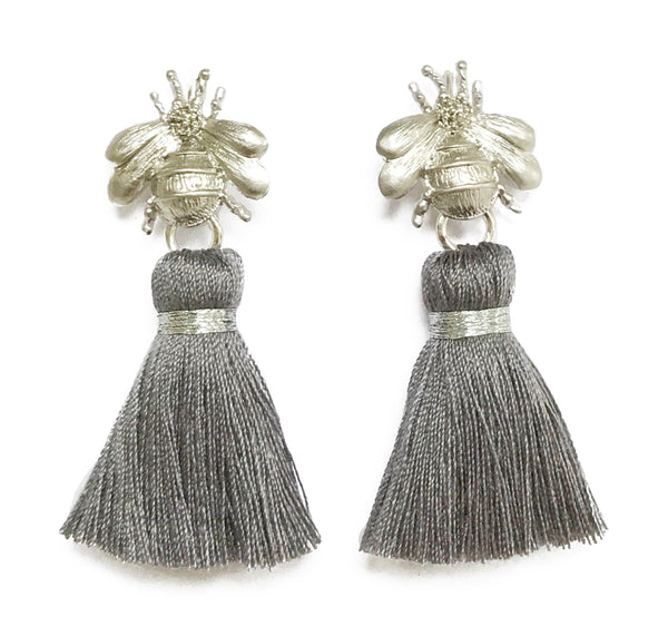 The 'Queen Bee' Tassel Earrings - Silver/Grey