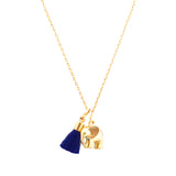 Elephant Necklace with Tassel and/or Initial Charm(s) - Gold