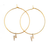 Lightning Hoop Earrings -  Gold Hoop