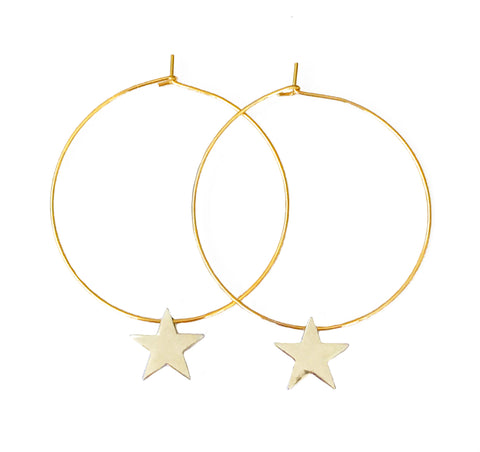Star Hoop Earrings - Gold or Silver
