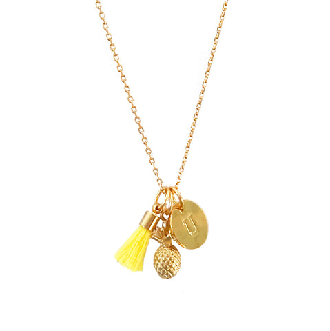 Pineapple Necklace with Tassel and/or Initial Charm(s) - Gold