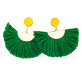 Cotton Fan Earrings - Green / Yellow Stone