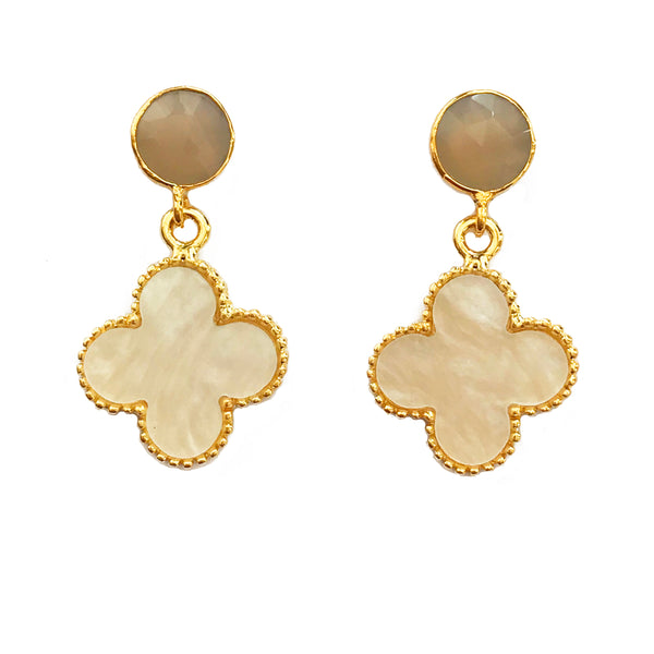 The 'Good Luck Clover' Earrings - Grey Posts