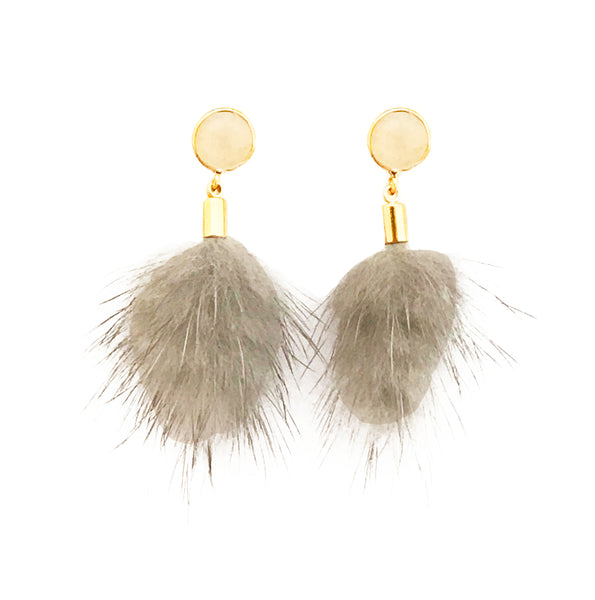 Faux Fur Earrings - Grey / White Stone