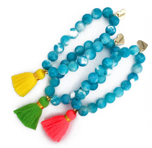 Mixed Blue Jade Bracelet - Choose a Tassel Colour