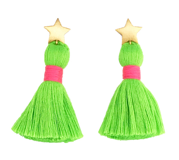 Gold Star & Neon Green Tassel / Pink Binding Earrings