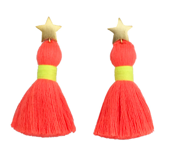 Gold Star & Neon Orange Tassel / Yellow Binding Earrings