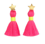 Gold Star & Neon Pink Tassel / Yellow Binding Earrings
