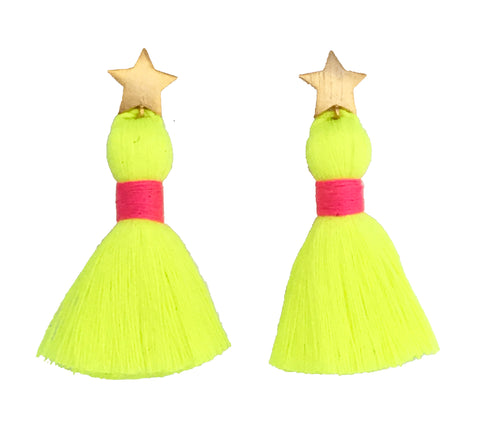 Gold Star & Neon Yellow Tassel / Pink Binding Earrings