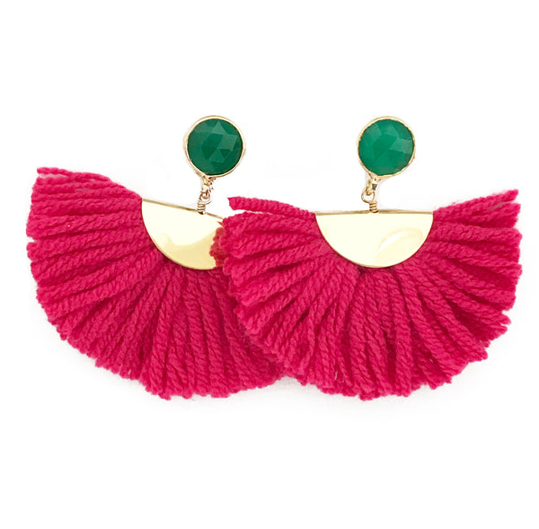 Cotton Fan Earrings - Pink / Green Stone