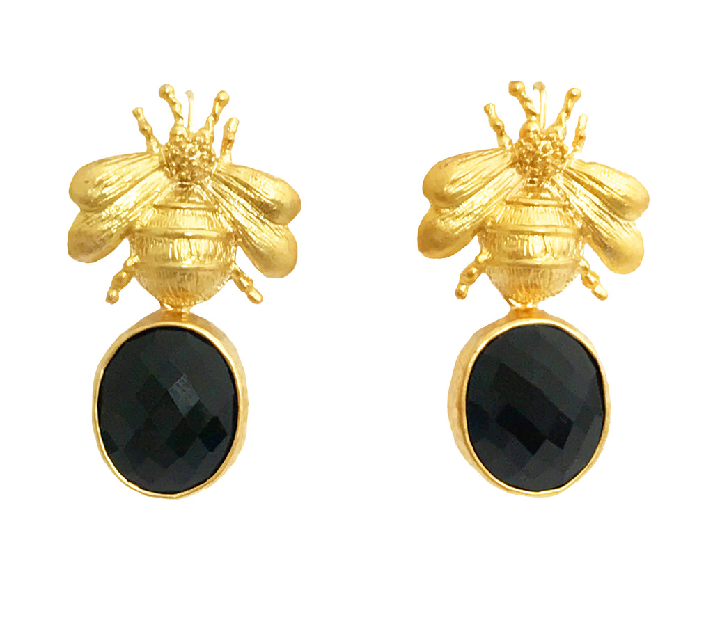 Gold Bee & Pendant Earrings - Black