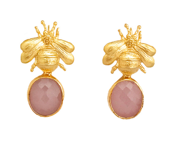 Gold Bee & Pendant Earrings - Pink