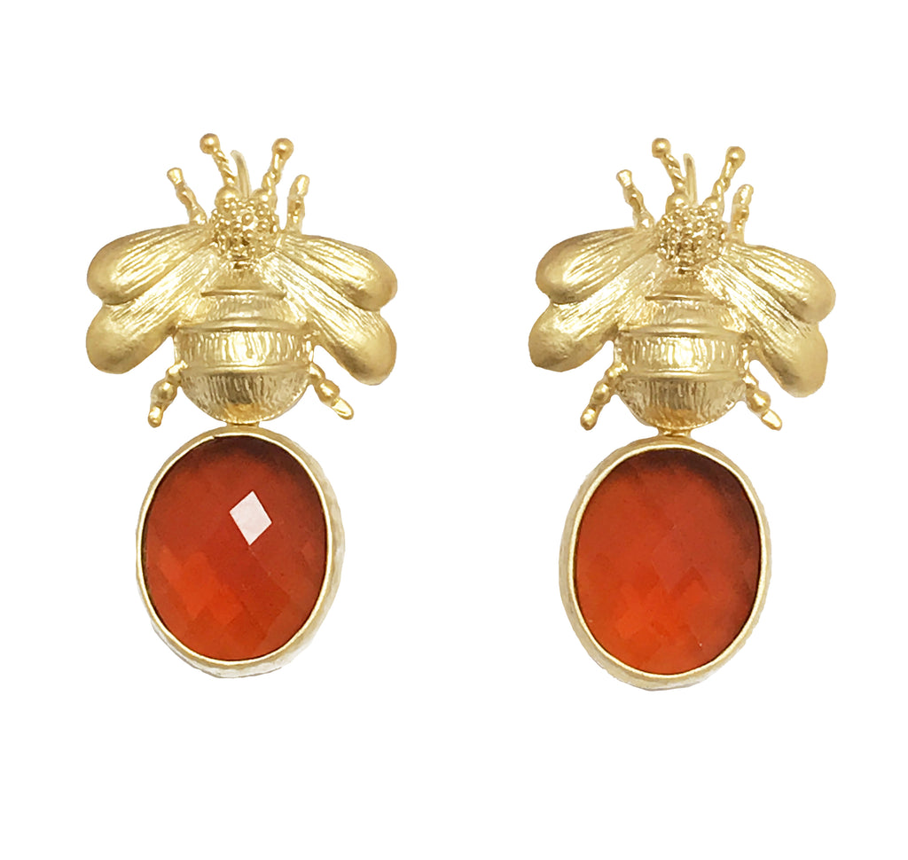 Gold Bee & Pendant Earrings - Orange