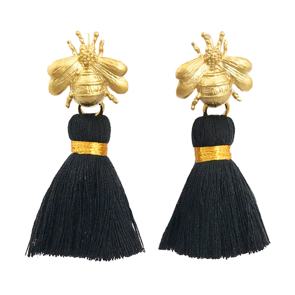 The 'Queen Bee' Tassel Earrings - Black