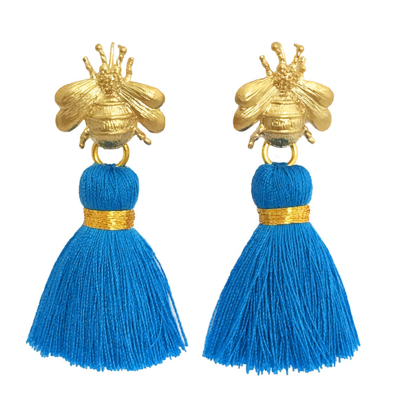 The 'Queen Bee' Tassel Earrings - Bright Blue