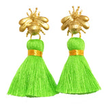 The 'Queen Bee' Tassel Earrings - Bright Green
