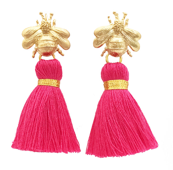 The 'Queen Bee' Tassel Earrings - Bright Pink