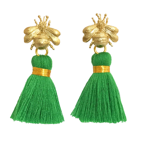 The 'Queen Bee' Tassel Earrings - Emerald Green