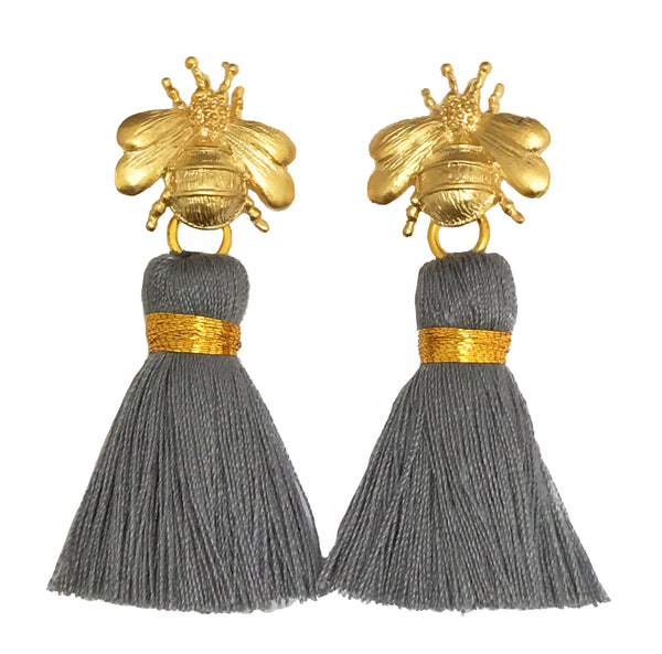 The 'Queen Bee' Tassel Earrings - Grey
