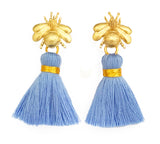 The 'Queen Bee' Tassel Earrings - Light Blue