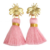 The 'Queen Bee' Tassel Earrings - Light Pink