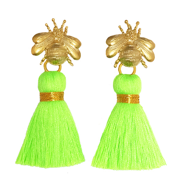 The 'Queen Bee' Tassel Earrings - Neon Green