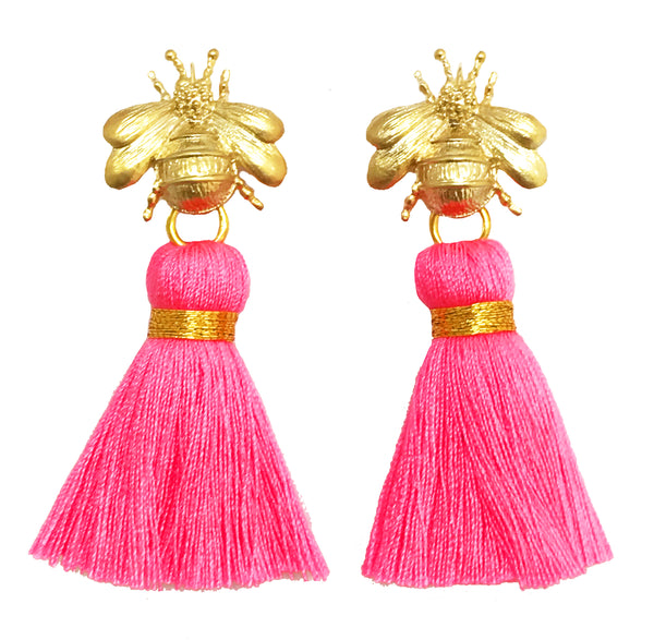 The 'Queen Bee' Tassel Earrings - Neon Pink