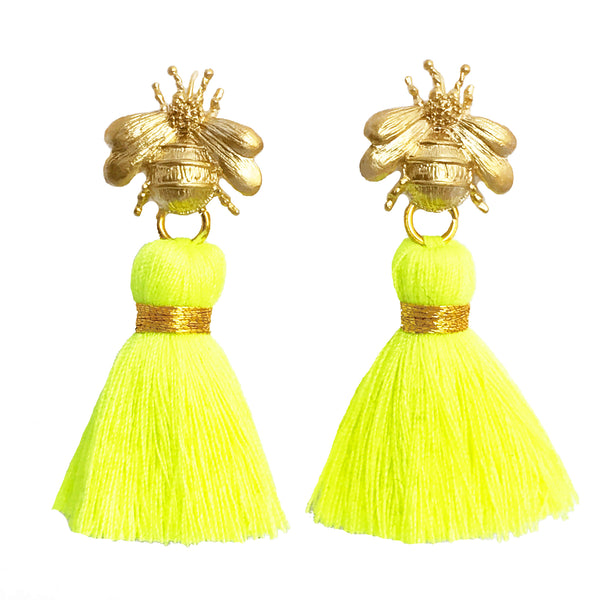 The 'Queen Bee' Tassel Earrings - Neon Yellow