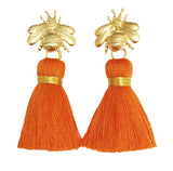 The 'Queen Bee' Tassel Earrings - Orange