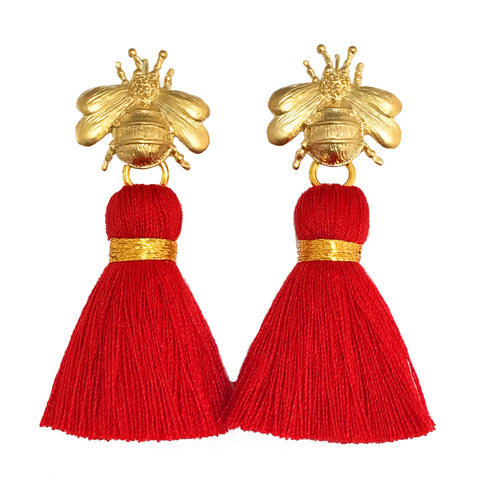 The 'Queen Bee' Tassel Earrings - Gold/Red