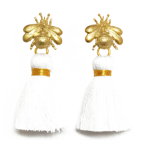 The 'Queen Bee' Tassel Earrings - White
