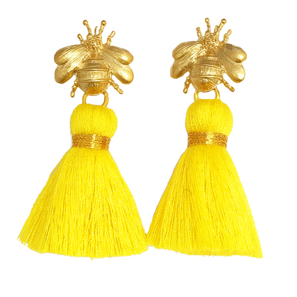 The 'Queen Bee' Tassel Earrings - Yellow