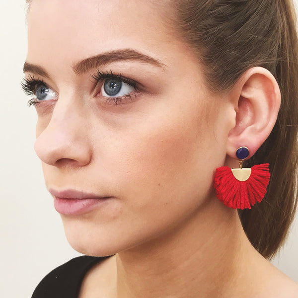 Cotton Fan Earrings - Red / Blue Stone