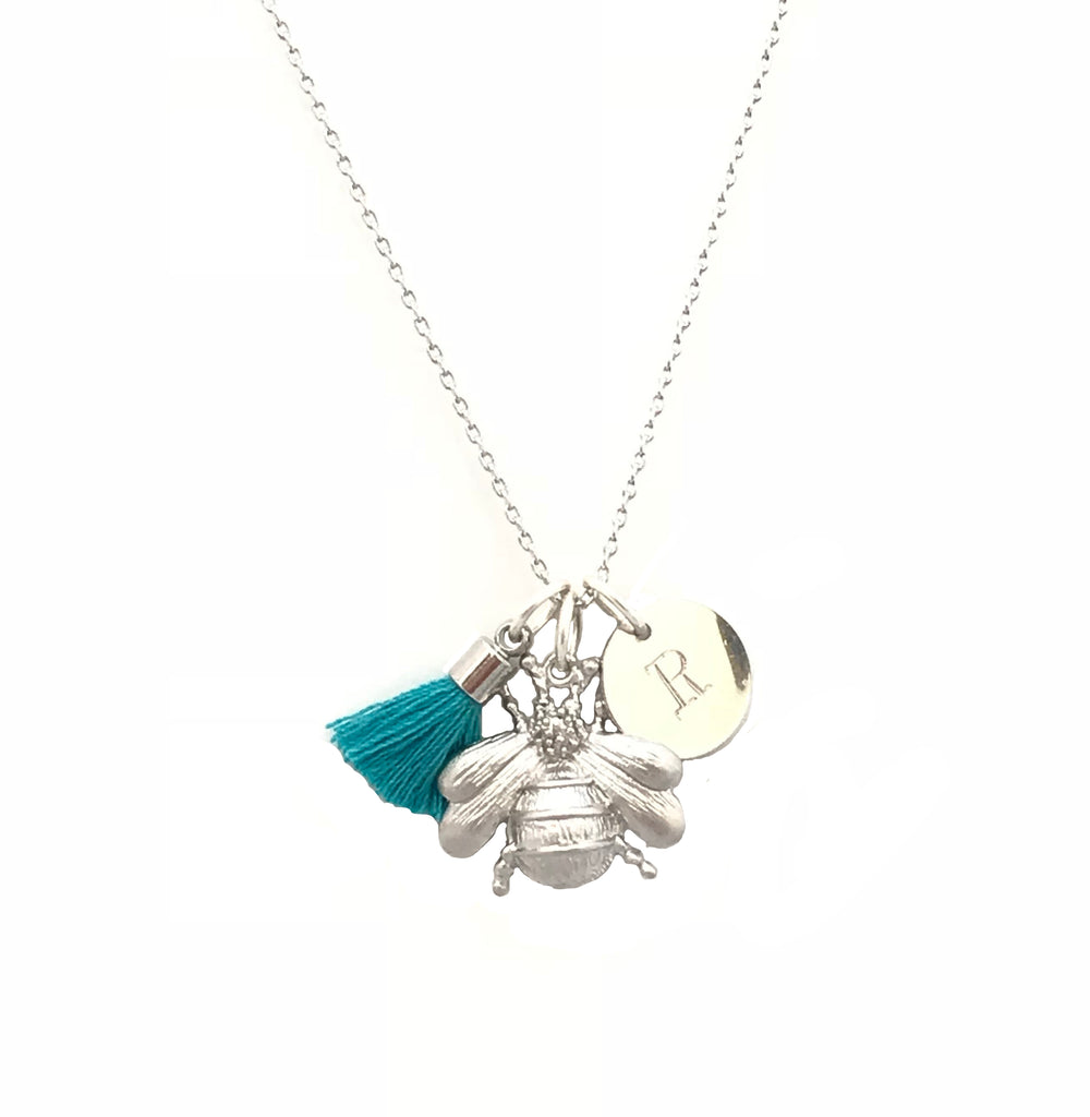Bee Necklace with Tassel and/or Initial Charm(s) - Silver