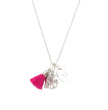 Elephant Necklace with Tassel and/or Initial Charm(s) - Silver