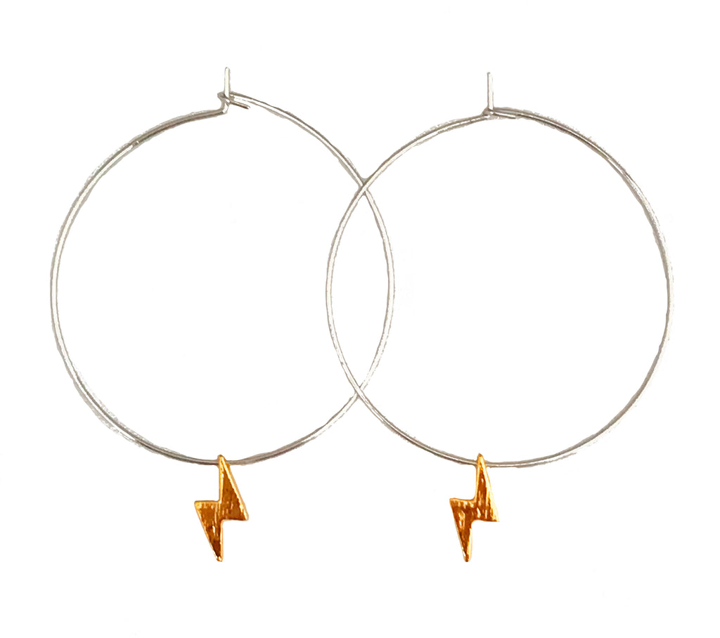 Lightning Hoop Earrings -  Silver Hoop