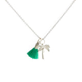 Palm Tree Necklace with Tassel and/or Initial Charm(s) - Silver