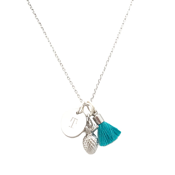 Pineapple Necklace with Tassel and/or Initial Charm(s) - Silver
