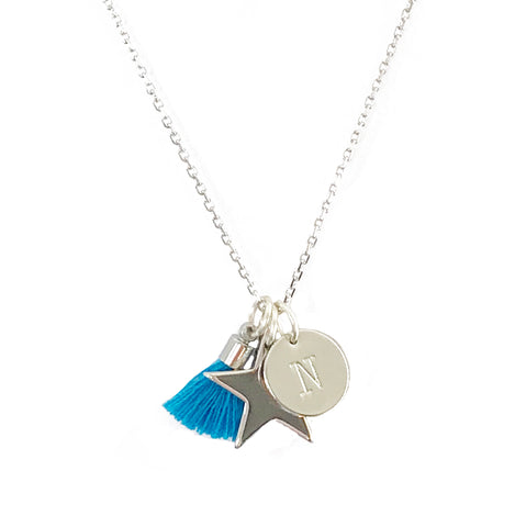 Star Necklace with Tassel and/or Initial Charm - Silver