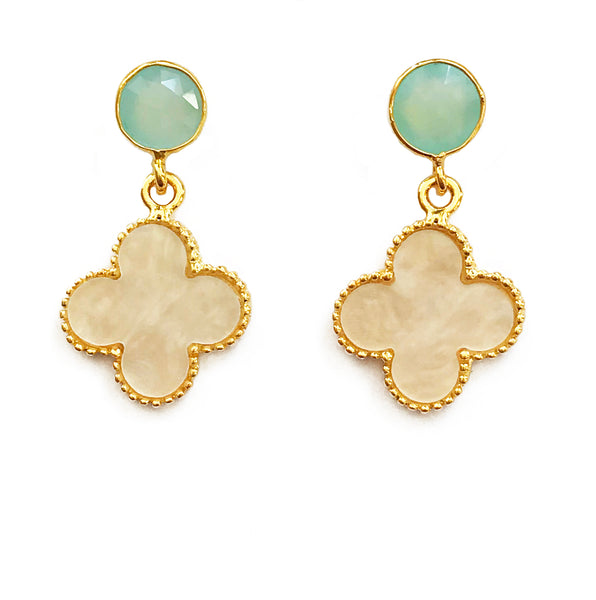 The 'Good Luck Clover' Earrings - Turquoise Post
