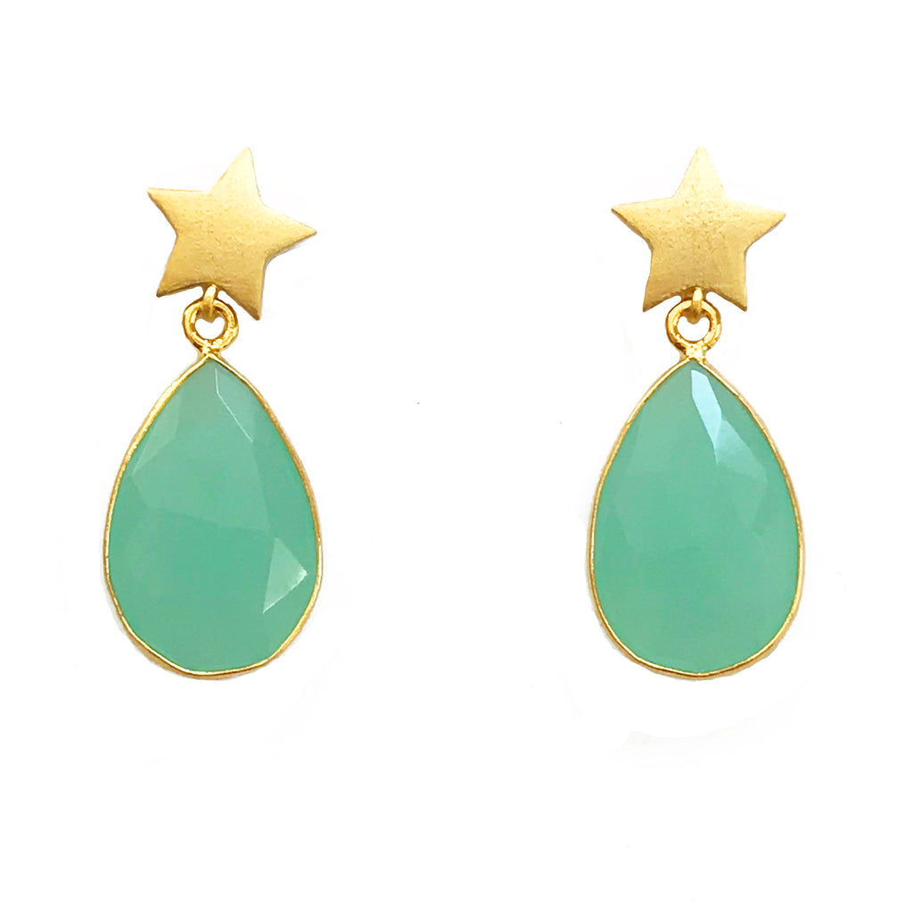 Gold Star & Turquoise Teardrop Stone Earrings