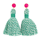 Turquoise Baker's Twine Tassel & Pink Stone Earrings