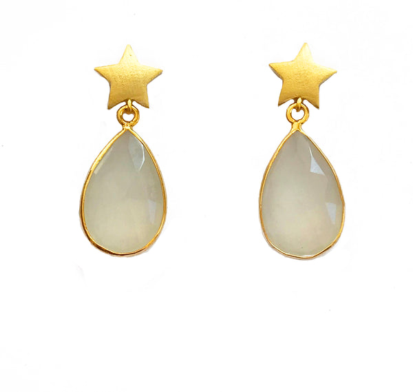 Gold Star & White Teardrop Stone Earrings