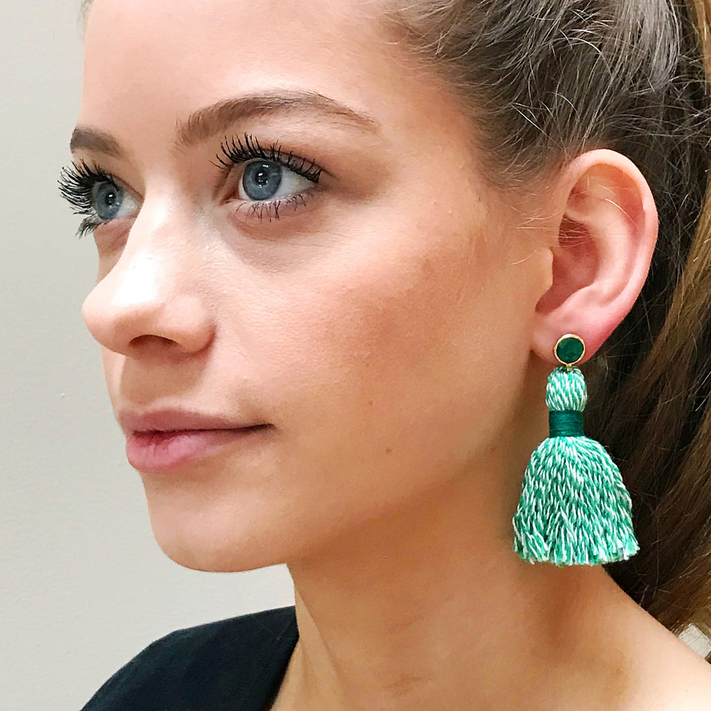 Green Baker's Twine Tassel & Green Stone Earrings