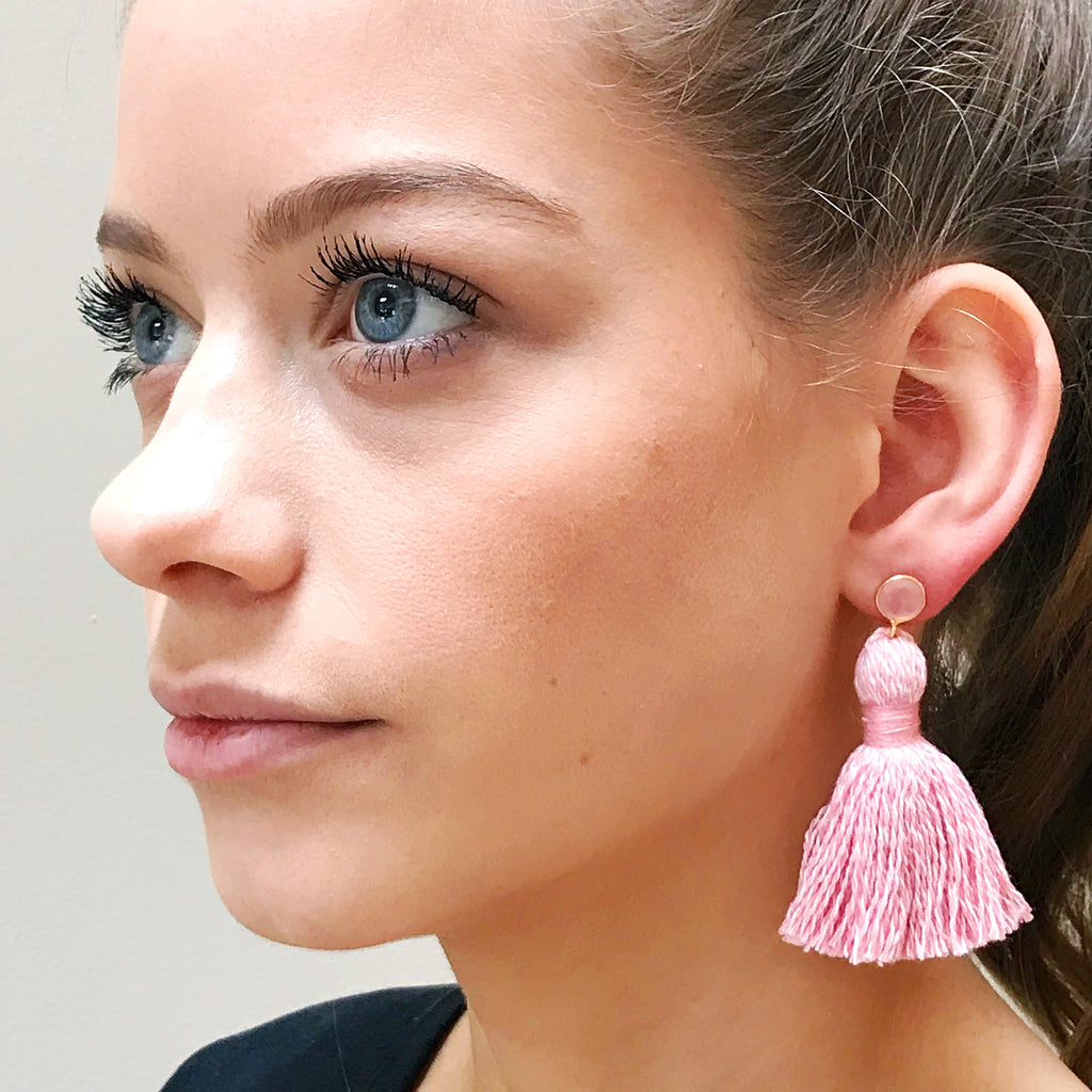 Light Pink Baker's Twine Tassel & Light Pink Stone Earrings