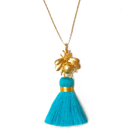 The  Gold 'Queen Bee' Tassel Necklace - Choose a Tassel Colour