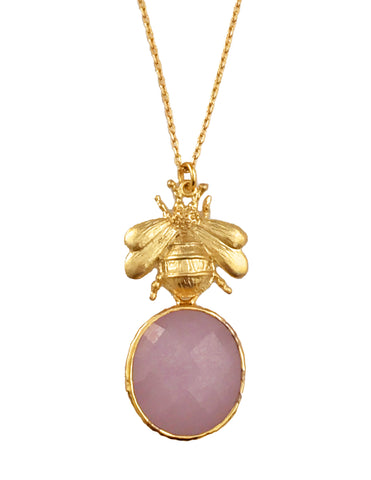 The Gold 'Queen Bee' & Glass Pendant Necklace - Ice Pink