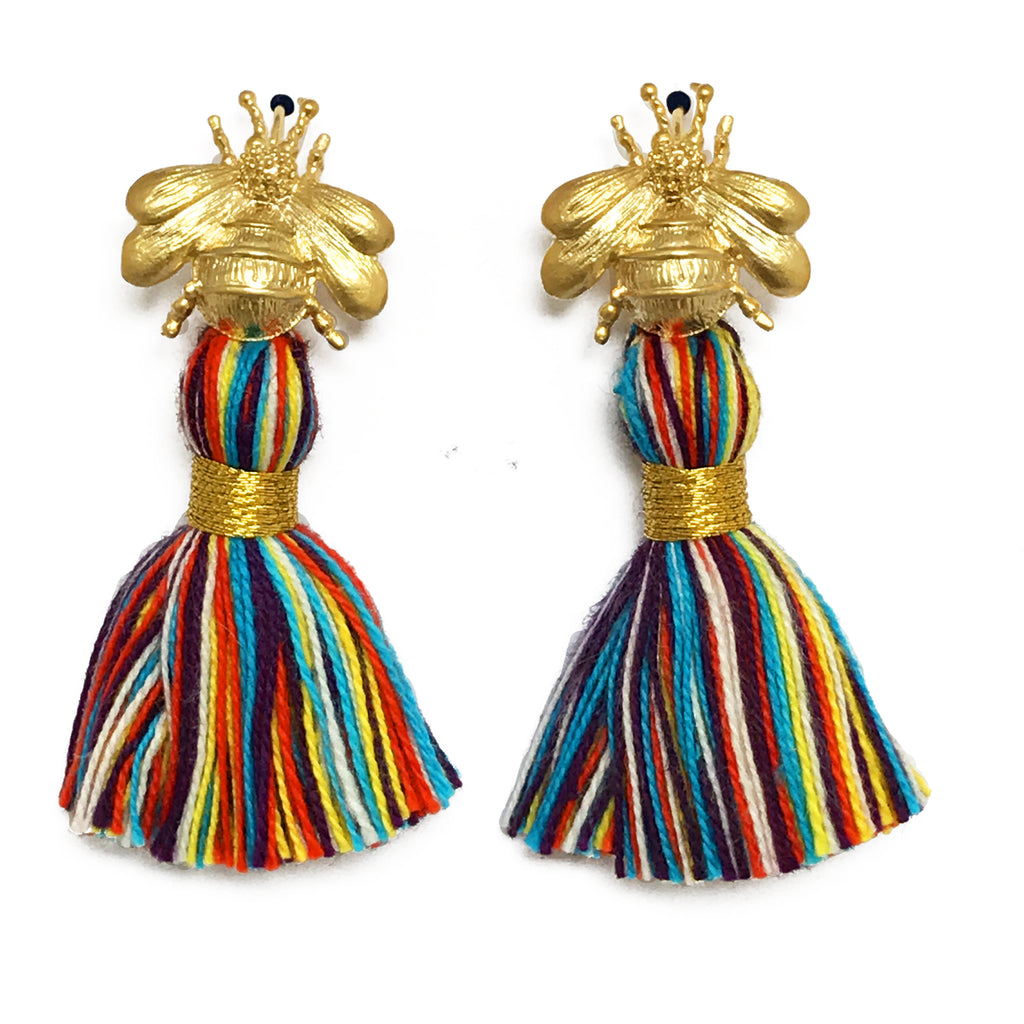 The 'Queen Bee' Tassel Earrings - Multi-Colour Primary